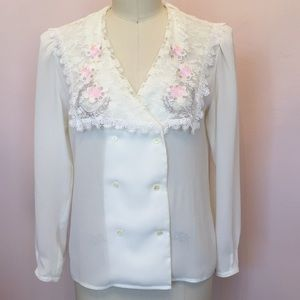 Vintage Nilani Embroidered Lace Blouse